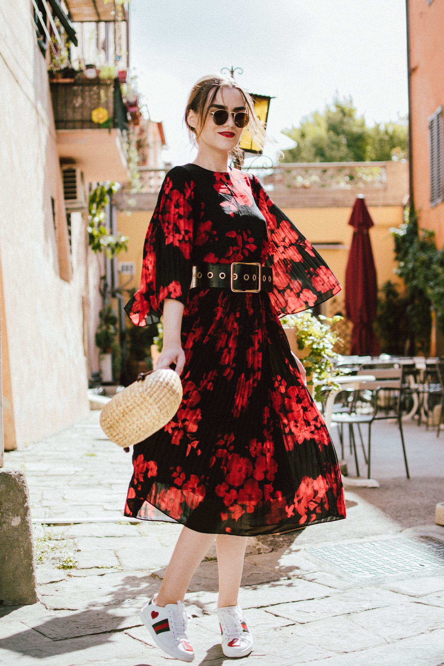 Andreea Reyes midi floral dress & heart embroidered sneakers | floral midi