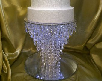 Drape Design Wedding Cake Stand Ivory Pearl And Gold Crystals   Round Or  Square