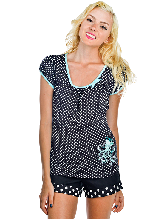 "Women's ""Ms. Octo"" Dollface Top by Banjo and Cake (Black)"