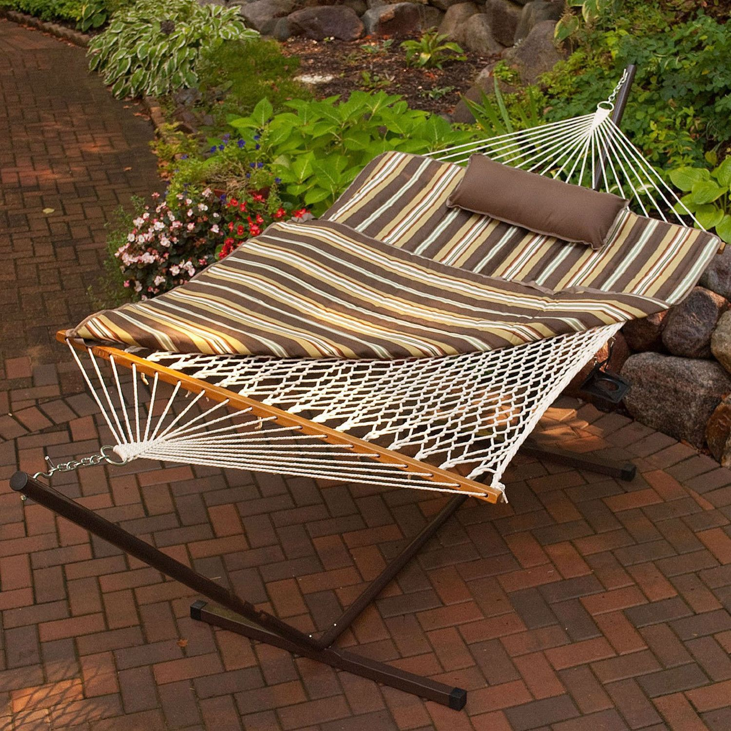 Outdoor Patio Deck 11 Ft Hammock With Metal Stand And Pad Pillow Set Patio Deck Outdoor Patio Pillow Set