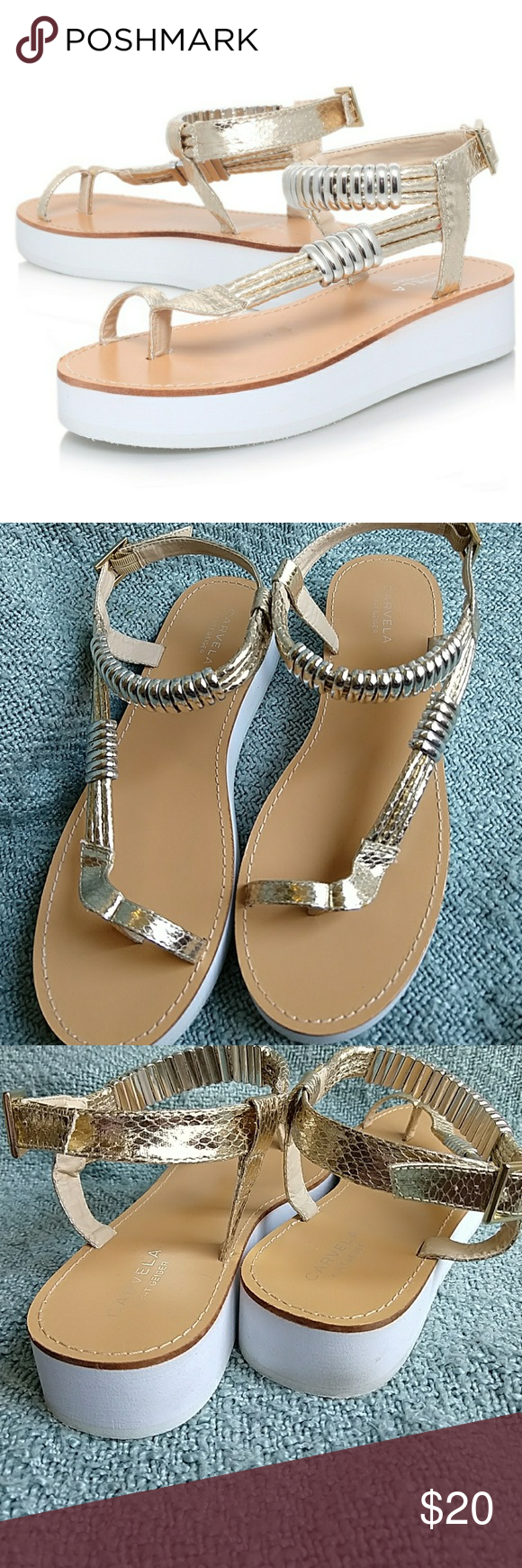 c7f8809fa29b Carvela flat platform sandals in gold and white Carvela by Kurt geiger