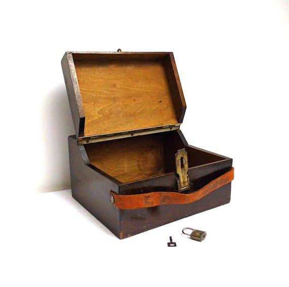 Vintage Wood Shoe Shine Box Kit Leather Strap Jewelry Box Trinket