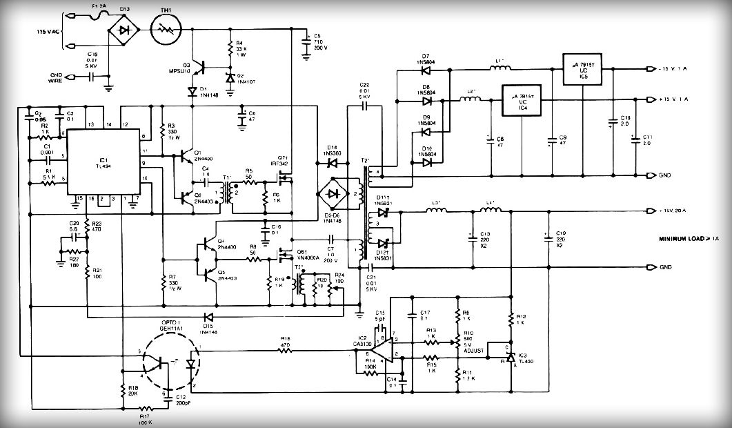 Multiple Output Smps Circuit Electronic Circuit Power Supply Circuit Electronics Circuit Circuit Diagram