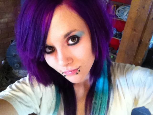 purple hair with teal highlights.awesome