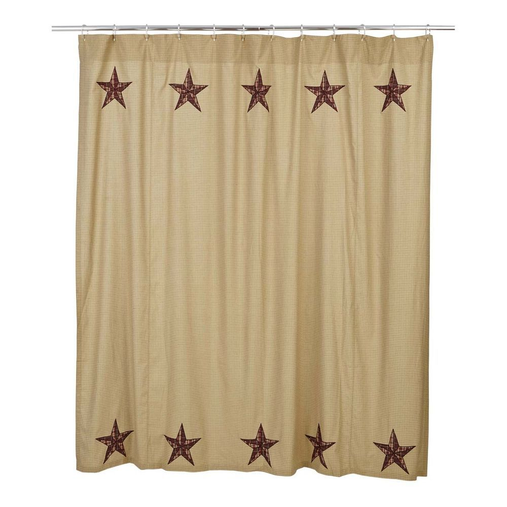 New Primitive Country Ninepatch Quilt BARN STAR SHOWER CURTAIN Tan Brown Red