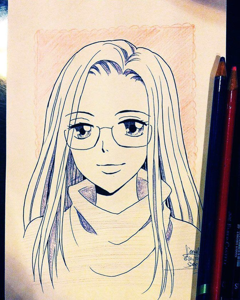 Custom Anime Manga Style Portrait Inking And Shading Colour Pencil Mangaportrait Personal Hand Art Drawing Anime Drawings Tutorials Colour Pencil Shading