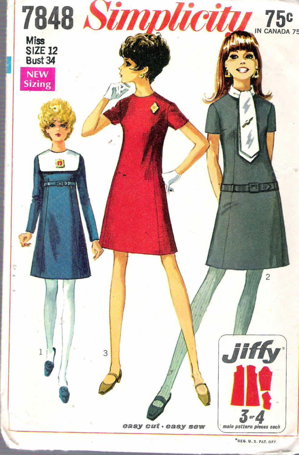 By recycledelic1 on etsy vintage patterns clothes pinterest womens jiffy mini dress with detachable collars simplicity sewing pattern 7848 size 12 bust 34 uncut vintage sewing patterns jeuxipadfo Choice Image