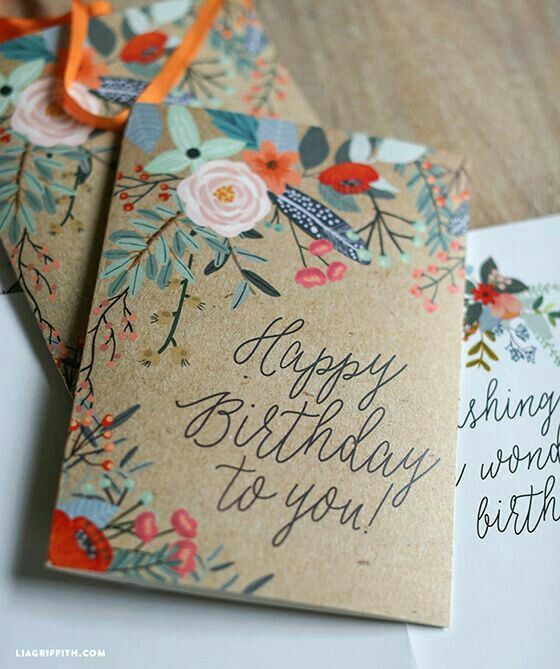 Floral craft idea using cardboard card stock snail mail 9 free printable birthday cards that look like you bought them pretty printable floral greeting card from lia griffith m4hsunfo