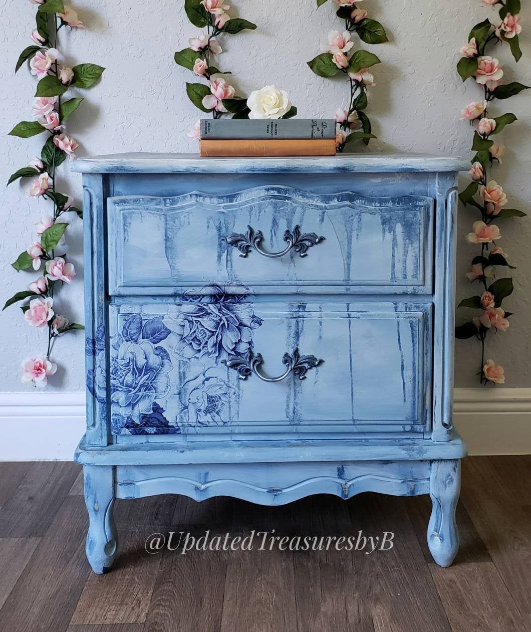 Vintage French Boho Farmhouse Floral Blue And White Nightstand
