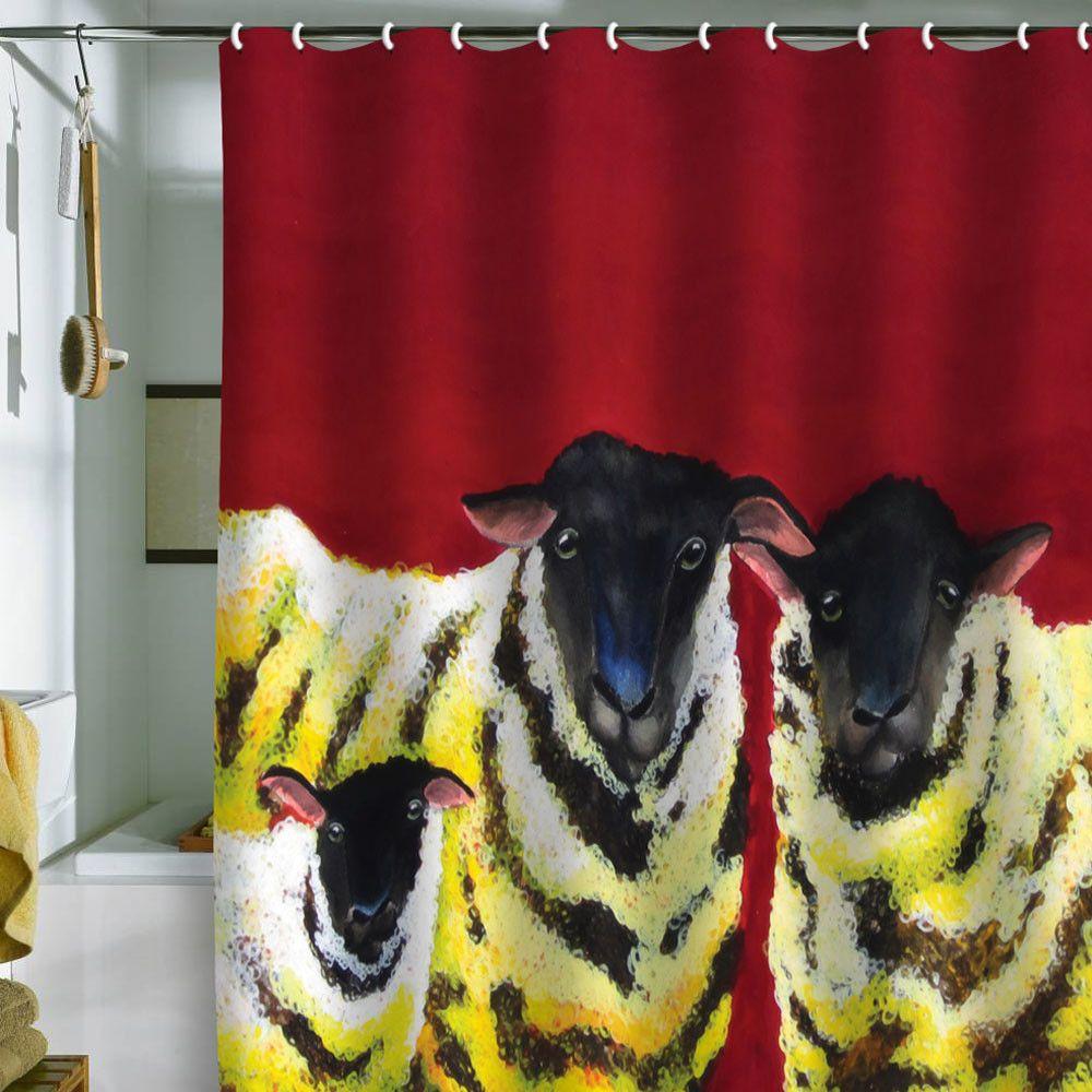 Clara Nilles Lemon Spongecake Sheep Shower Curtain
