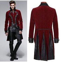Mens Antique Red Floral Velvet Gothic Coat Victorian Dress Trench Coats Men