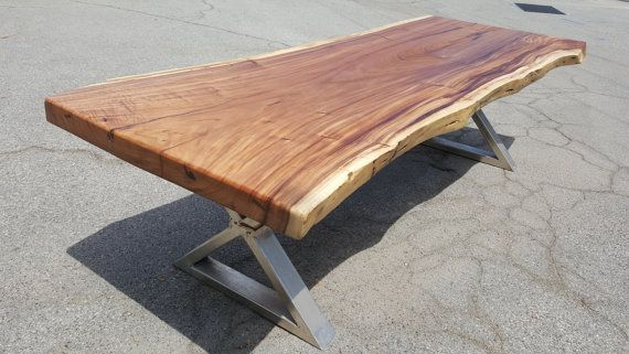 "111"" Solid Slab Acacia Wood Live Edge Dining Table Hand Crafted 034"