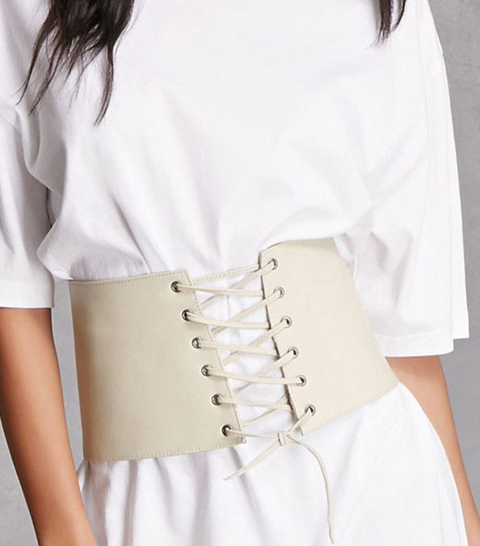 Forever 21 Lambskin Lace-Up Corset ($38) Get the celebrity-approved corset look without drastically changing your style. Simply add this affordable corset belt to your wardrobe and style it over your go-to T-shirt for a standout look.   How to Make Over Your Entire Look With Only Accessories via @WhoWhatWear