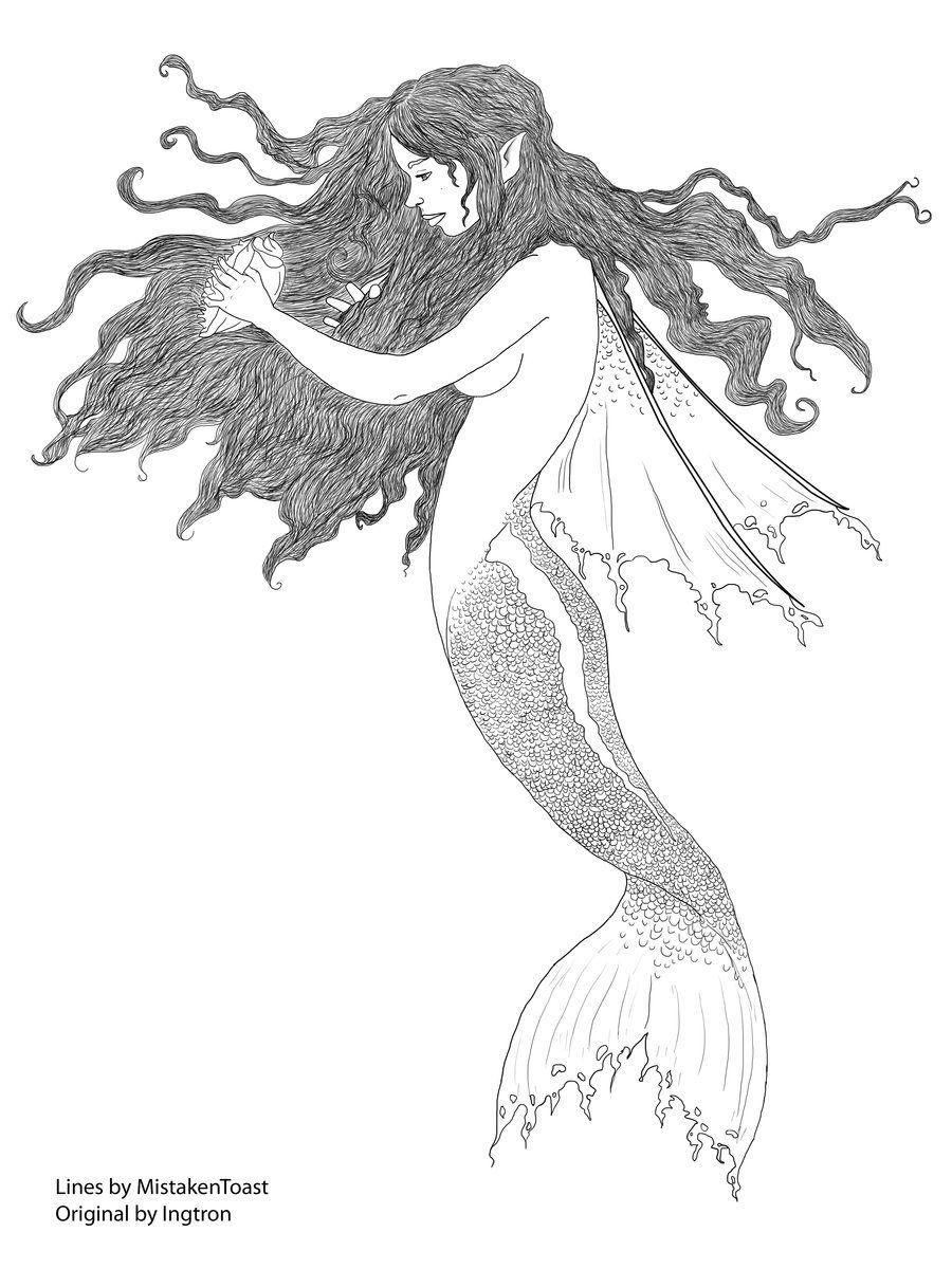 Mermaid Line Art Drawings coloring sheets