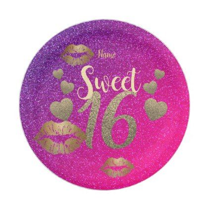 sc 1 st  Pinterest & Sweet 16 Pink GOLD Purple Glitter Personalized Paper Plate