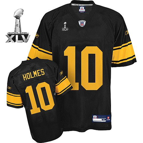 5c9beeca9a2 Steelers #10 Santonio Holmes Black With Yellow Number Super Bowl XLV  Embroidered NFL Jersey!$22.50USD