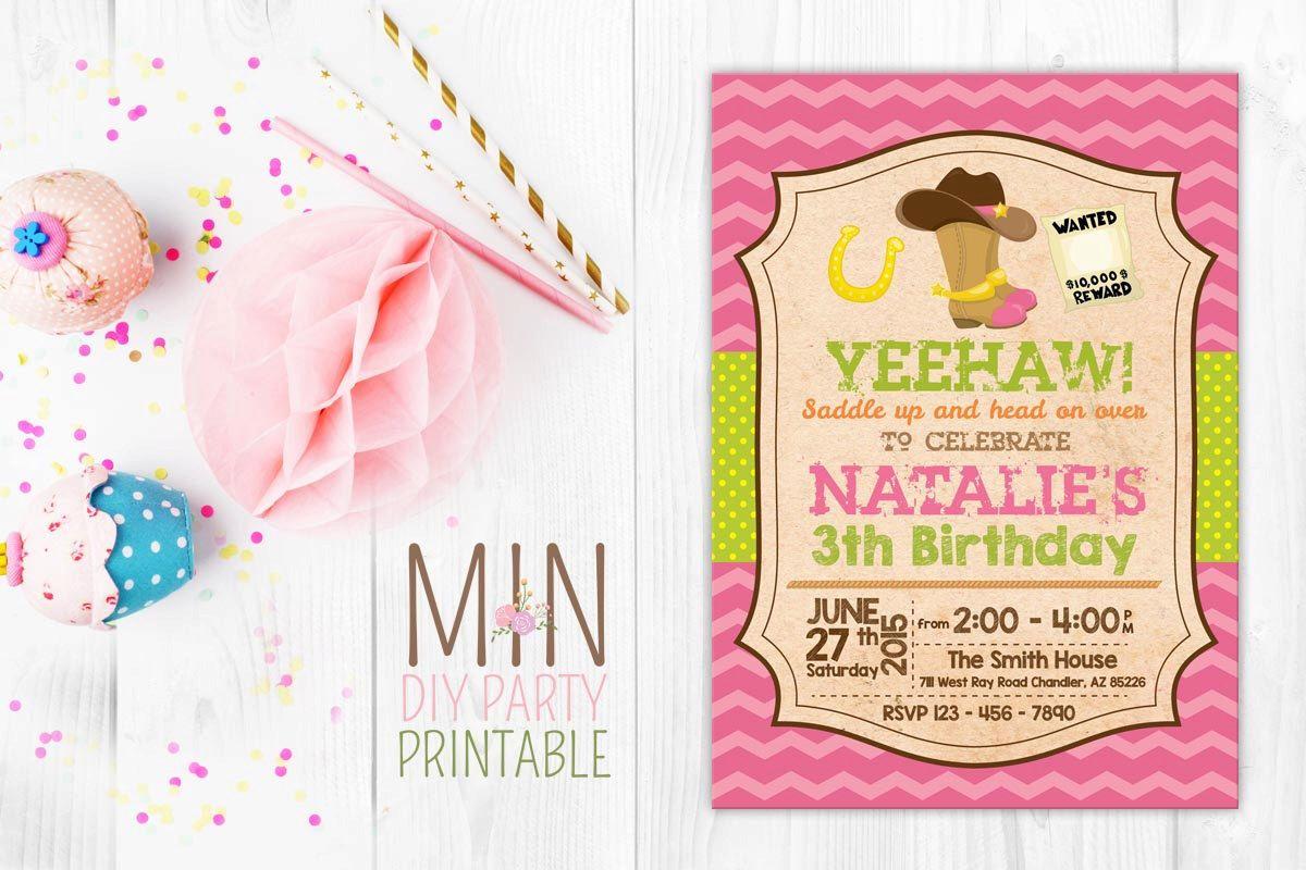 Western Cowgirl Invitation 2 Western Cowgirl Birthday Invitation