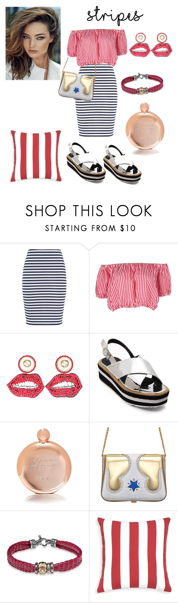 """""""stripes"""" by prettycarole ❤ liked on Polyvore featuring maurices, Gucci, Kerr®, Ted Baker, The Volon and Platadepalo"""
