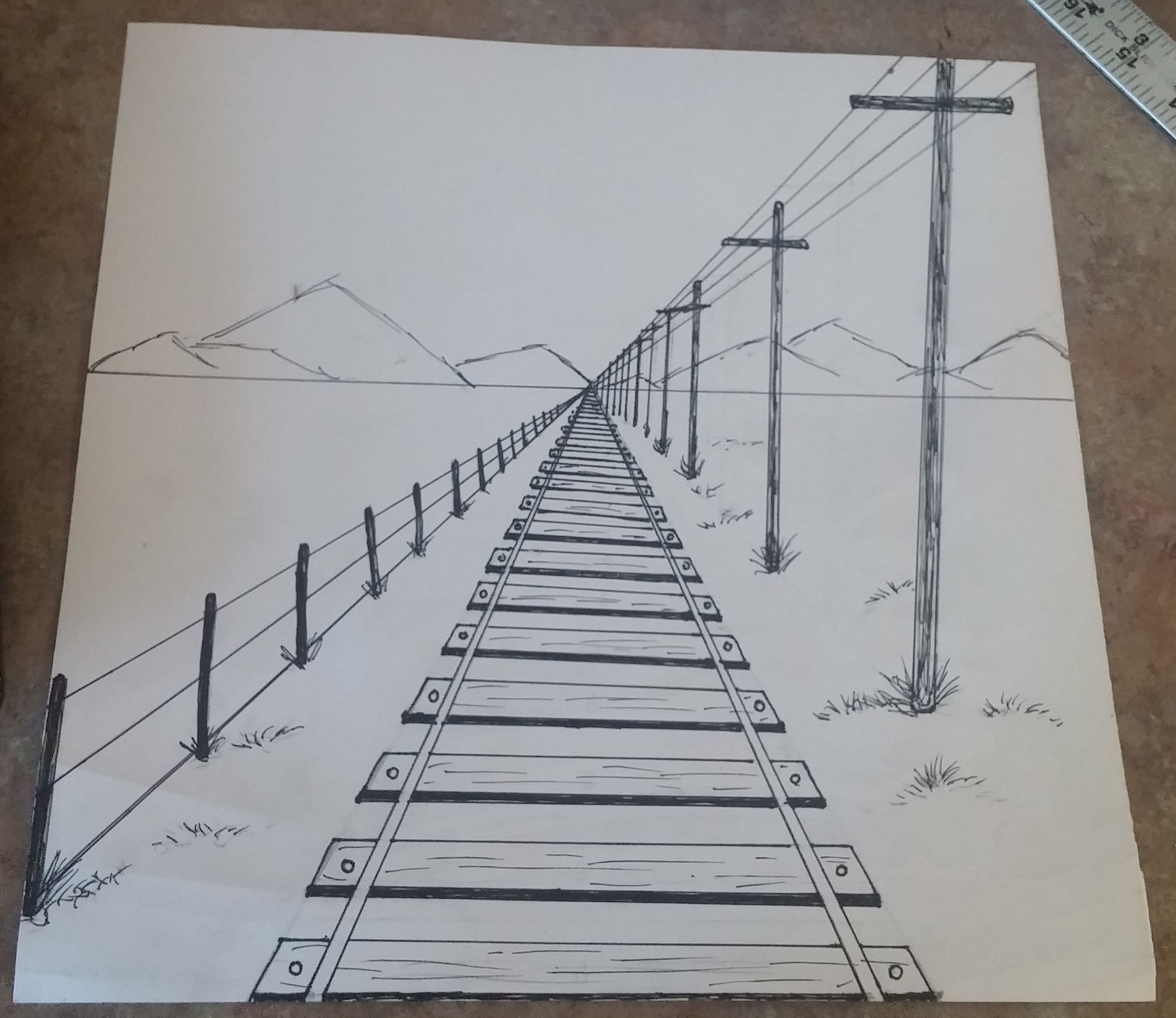 How To Draw A 1 Point Perspective Railroad