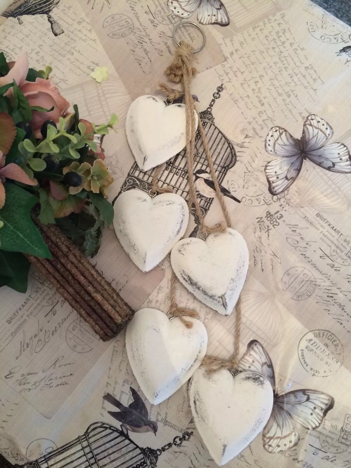 Terrific Shabby Chic Vintage Wooden Hanging Hearts Cluster Cream Home Interior And Landscaping Ponolsignezvosmurscom