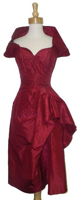 Sculptural Garnet Silk Taffeta 1950's Cocktail Dress