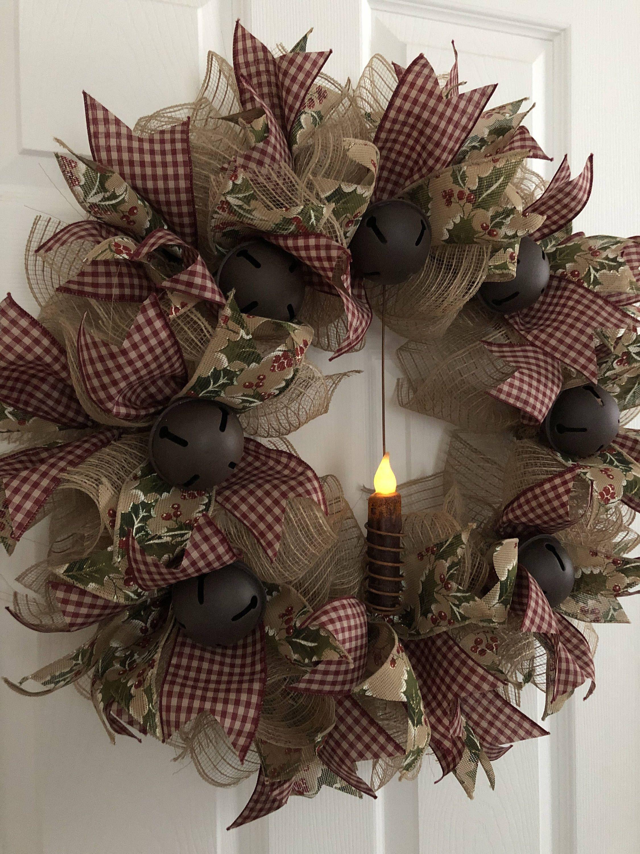 Christmas Wreath Primitive Wreath Winter Wreath Burlap Deco Mesh
