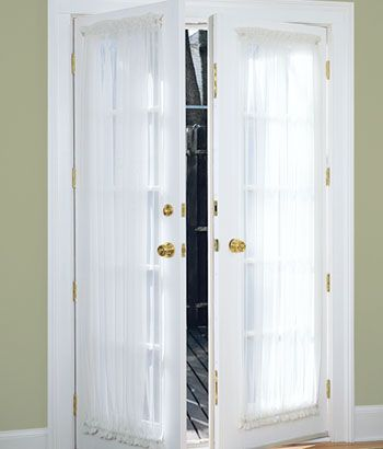 Sheer Door Panels For Front Doors From Country Curtains Cheap Can Use It To Replace Old Panel French Doors Interior French Door Curtains Door Panel Curtains