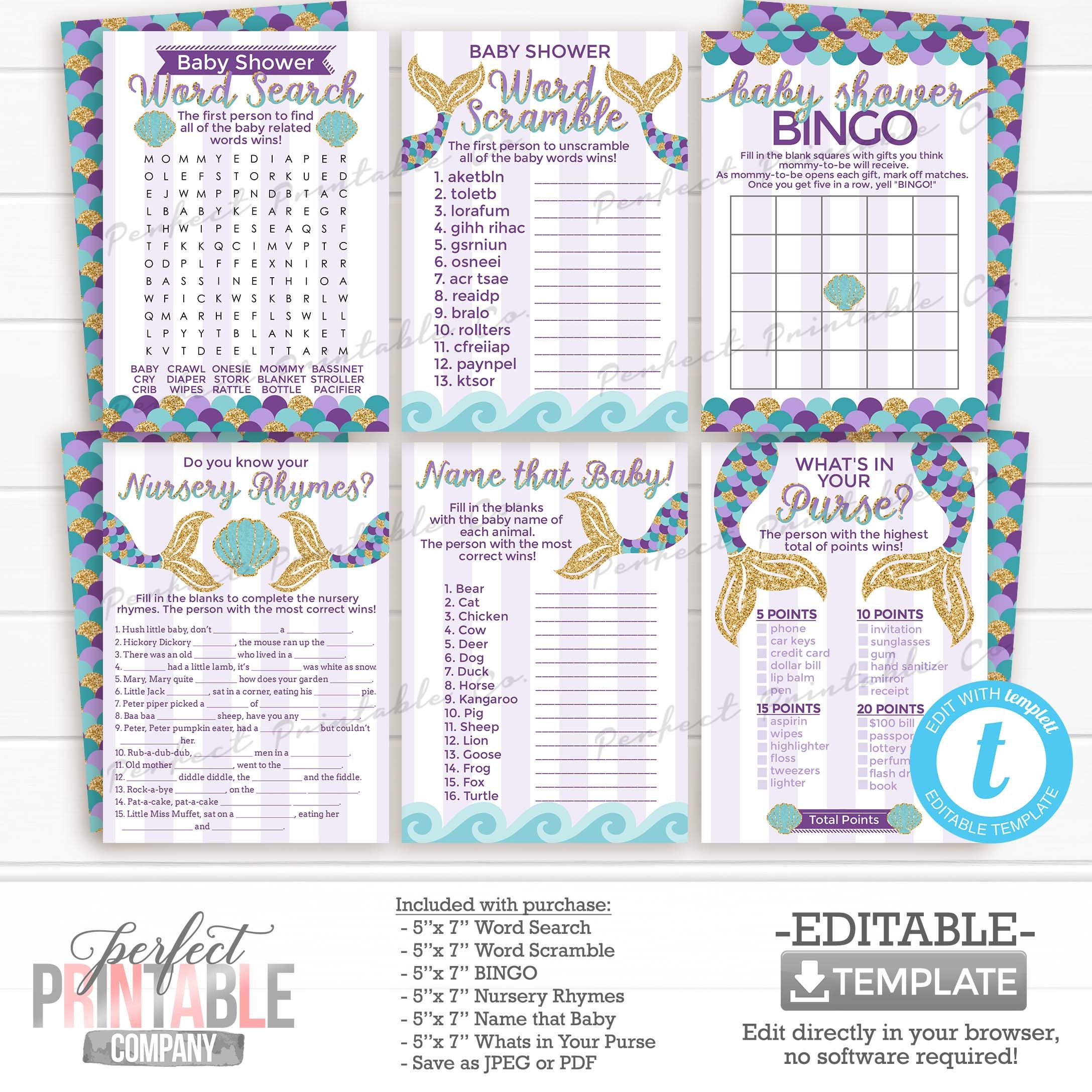 Mermaid Baby Shower Games Word Scramble Word Search Bingo Name Baby Animal Whats In Your Purse Nursery Rhyme Decorations 1034 In 2021 Mermaid Baby Showers Baby Shower De Baby Shower Wording