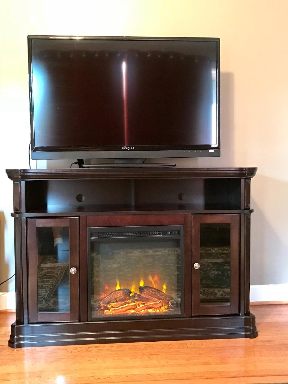 amazon com ameriwood home brooklyn electric fireplace tv console