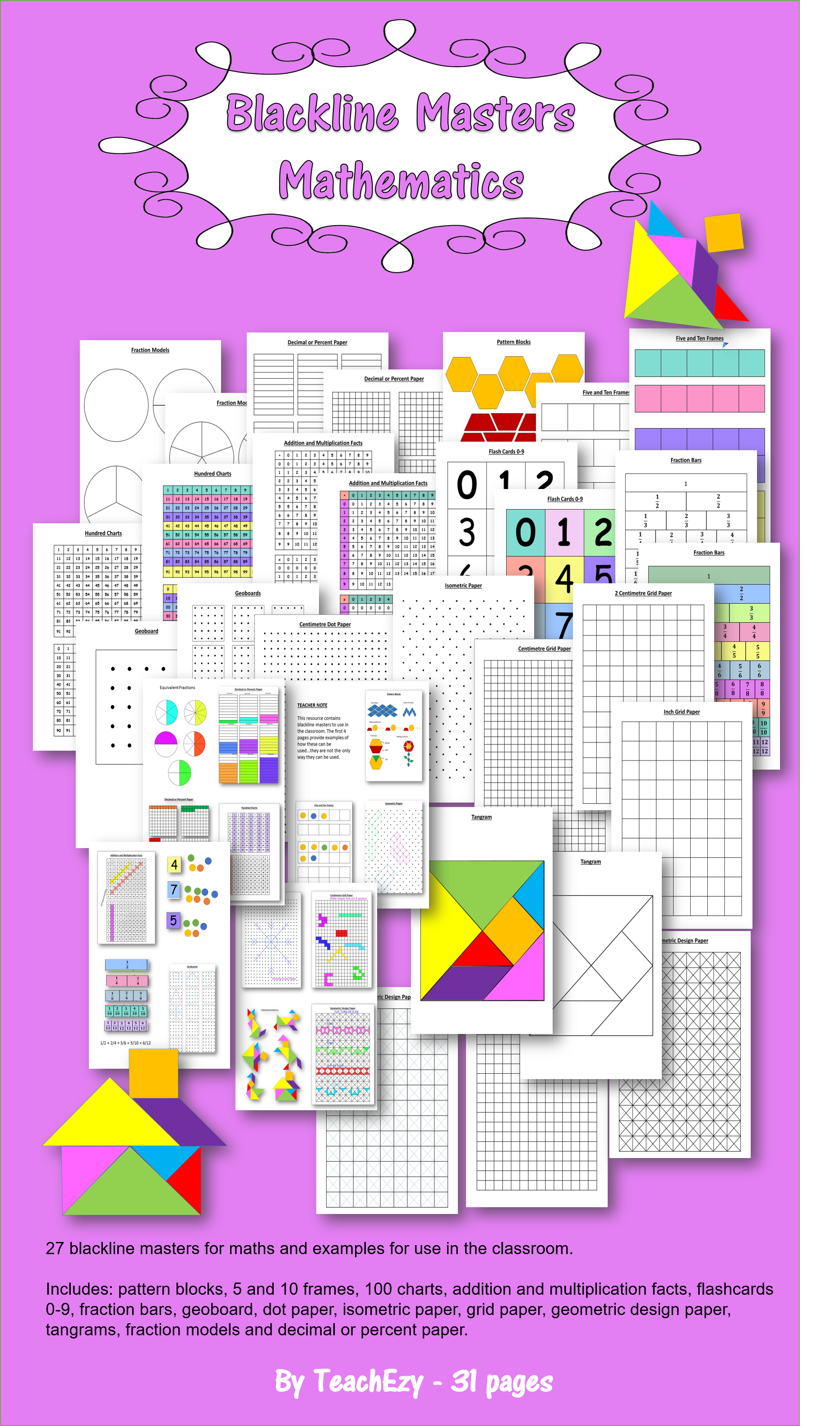 measurement isometric paper fraction bars and 100 chart