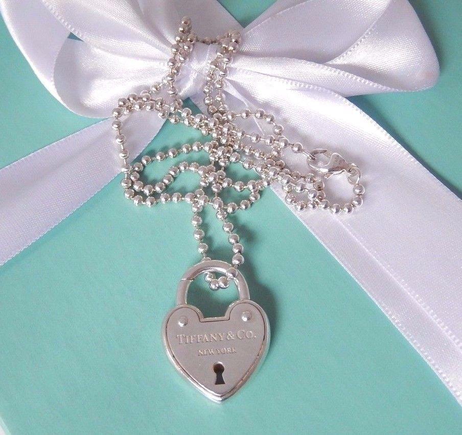 b974027e3 Tiffany Co New York Silver Arc Heart Lock Pendant Charm 24