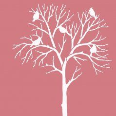 Lovely Large Tree Winter Cardinals Stencil For Furniture Craft