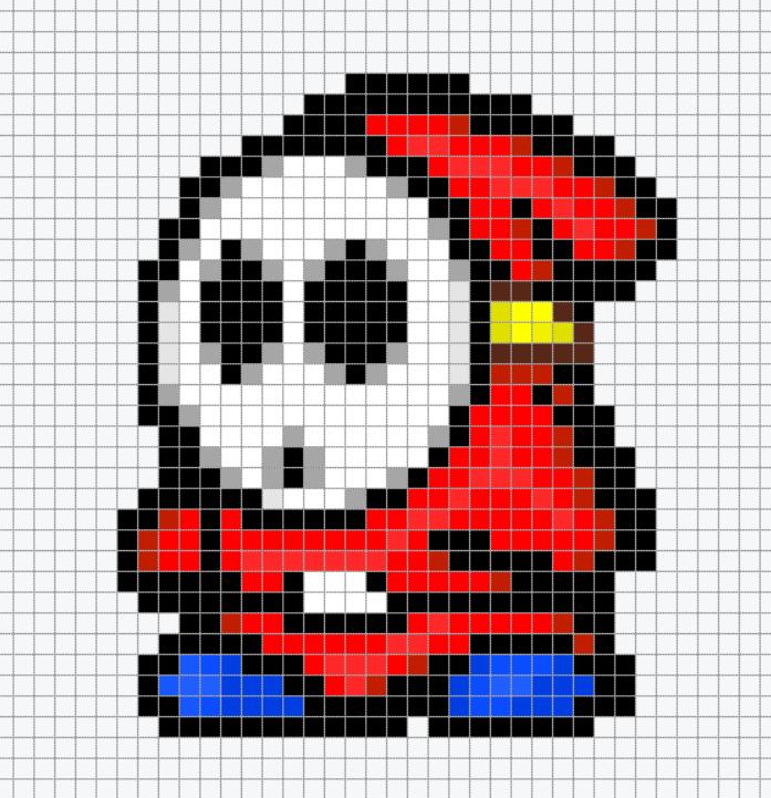 Mario Shy Guy Chart Pixel Art Pixel Art Grid Pixel Art