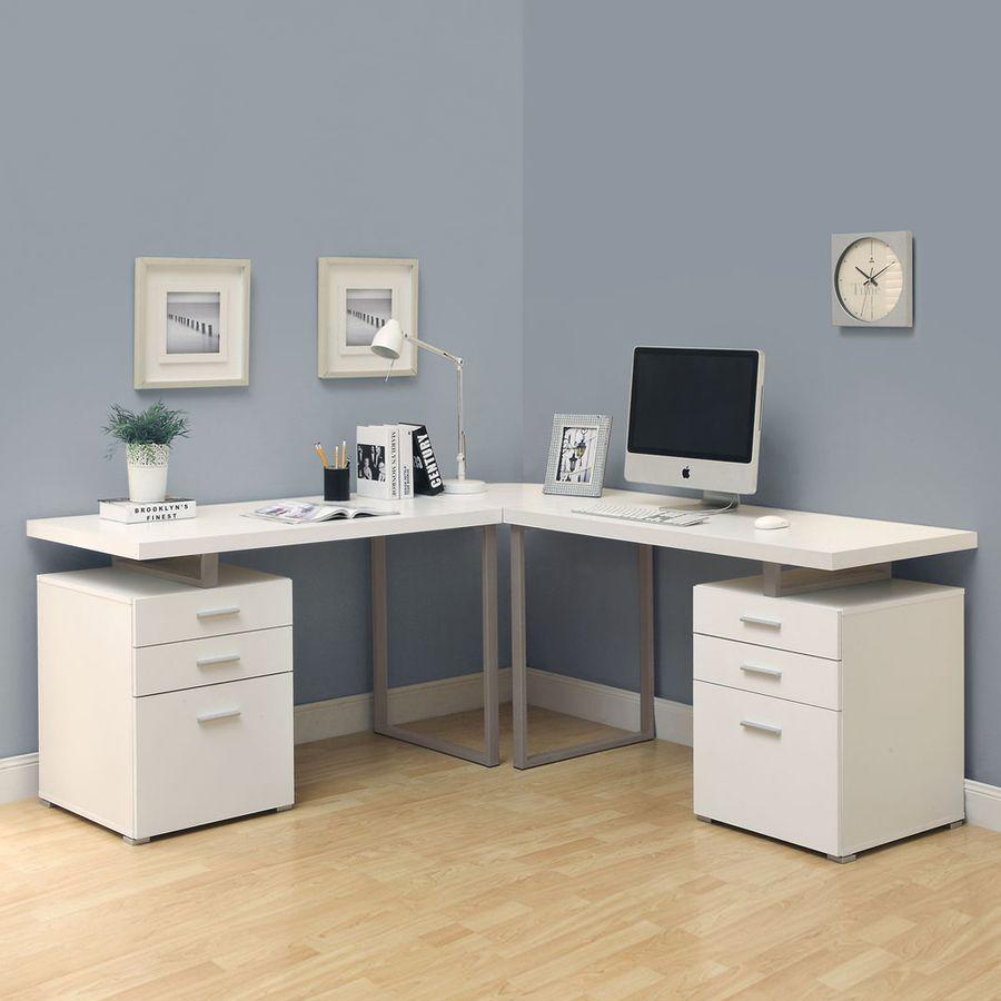 Monarch Specialties Hollow Core Contemporary White L Shaped Desk