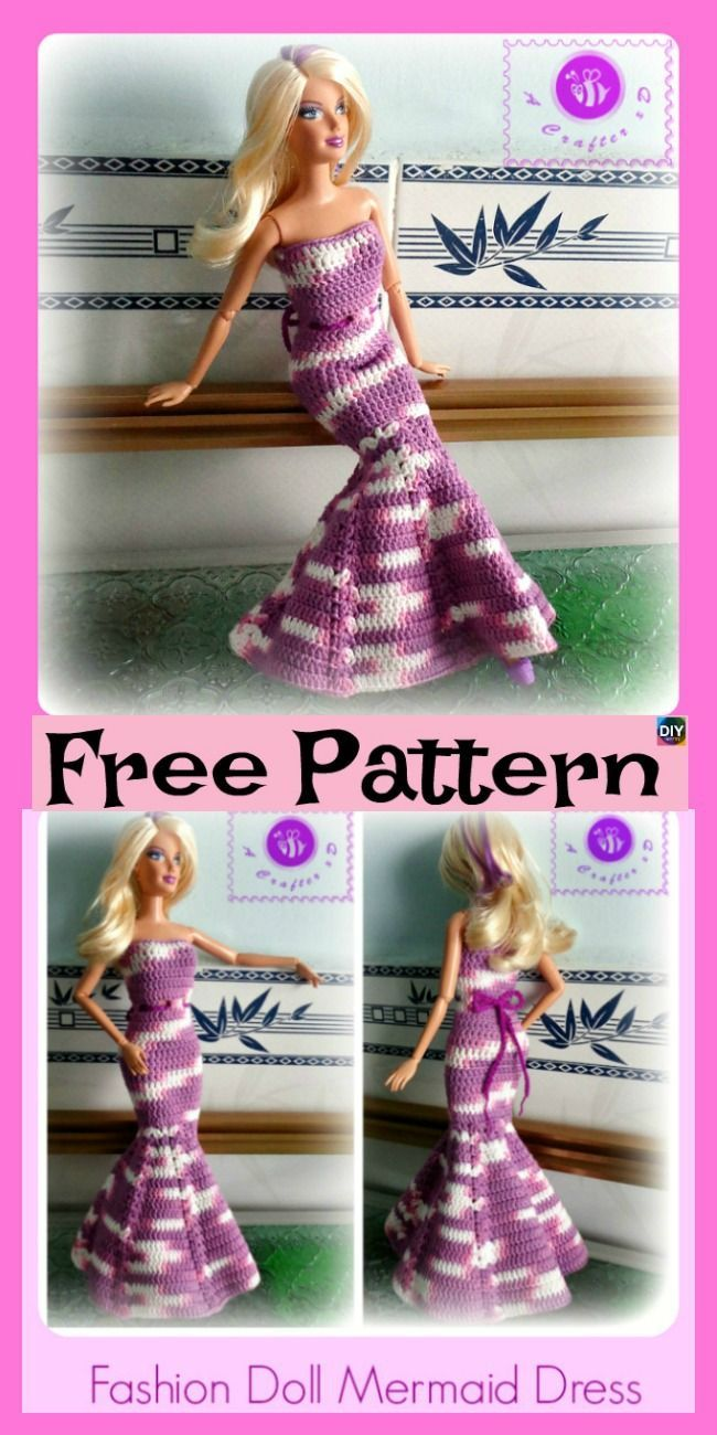 6 Pretty Crochet Doll Dress - Free Patterns #dolldresspatterns 6 Pretty Crochet Doll Dress - Free Patterns #freecrochetpatterns #dolldress #giftidea #dolldresspatterns
