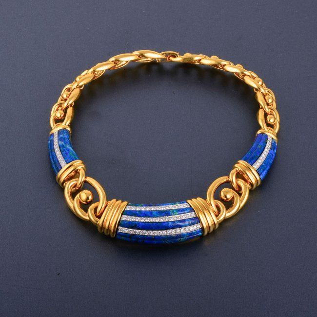 David Webb Yellow Gold Diamond Azurite Necklace