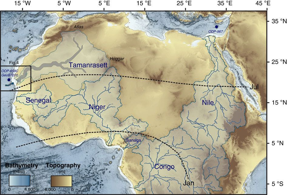 West Africa the newly identified Tamanrasett paleodrainage network