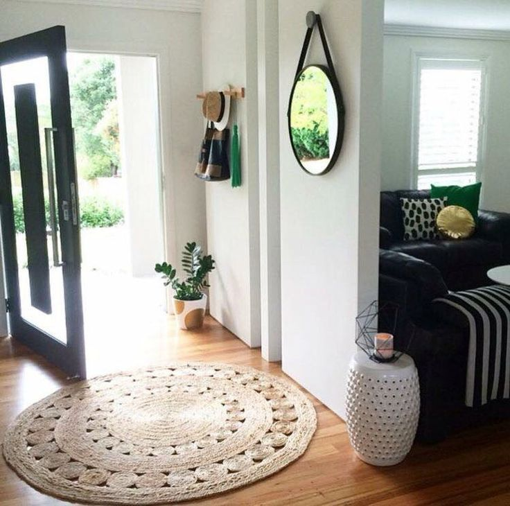Simple Entryway Room with Kmart Round Jute Rug, and