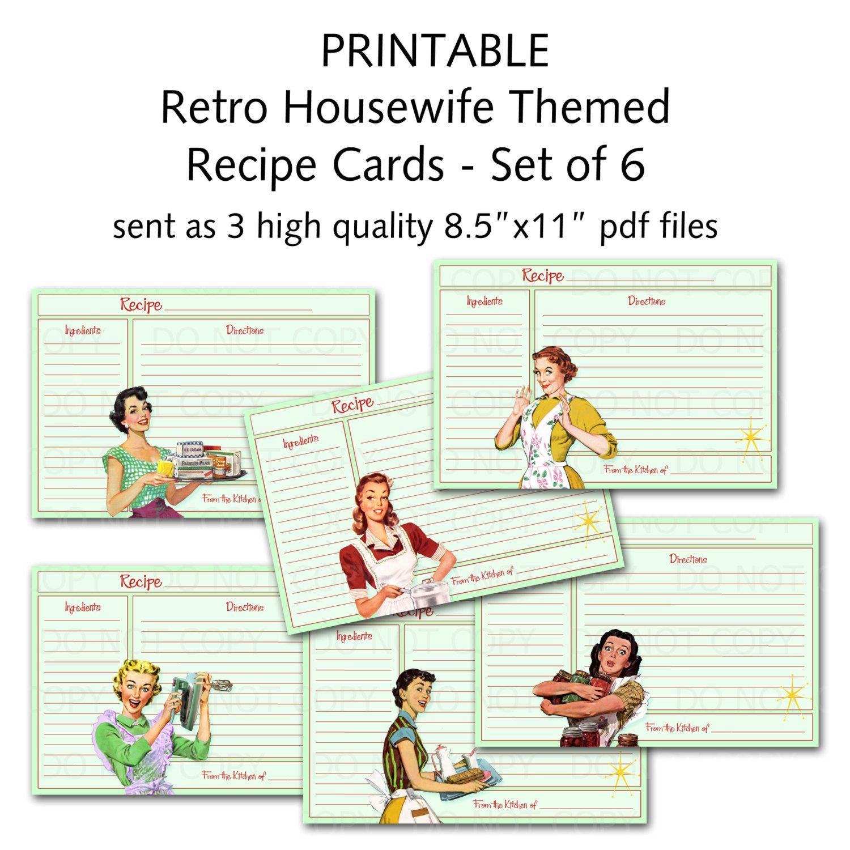Printable 1950 s Retro Housewife Recipe Cards Set of 6 designs