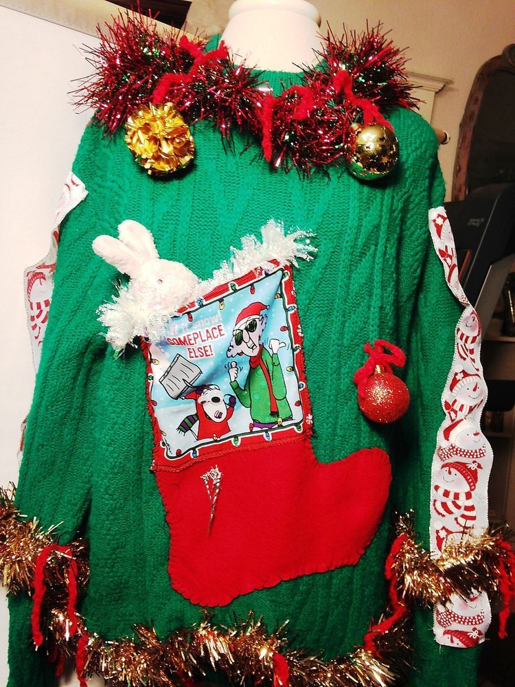 Ugly Christmas Sweater Tacky Green Women\u0027s Let it Snow Stocking