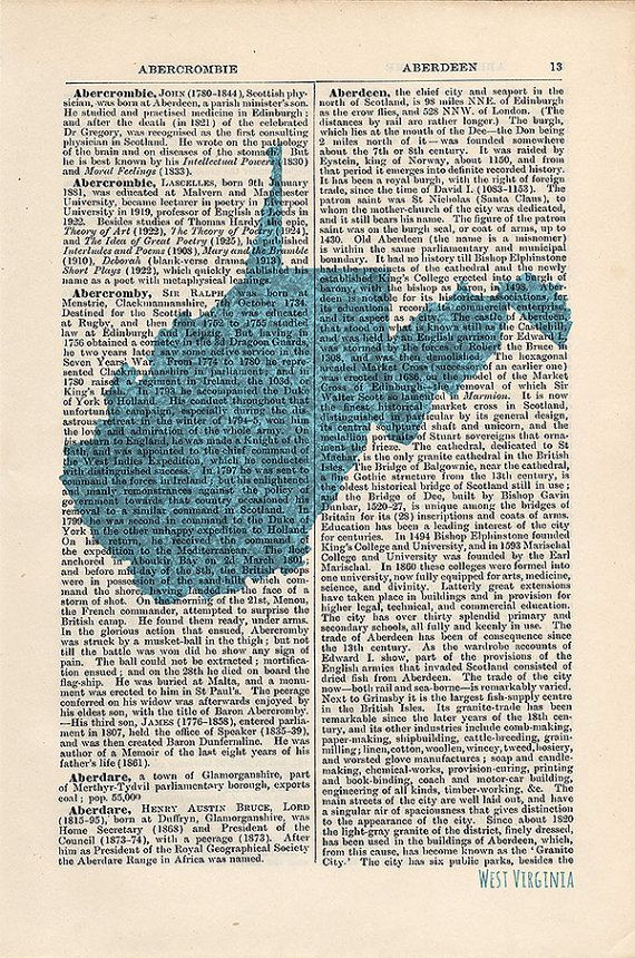 West Virginia State Map Print on a vintage encyclopedia page