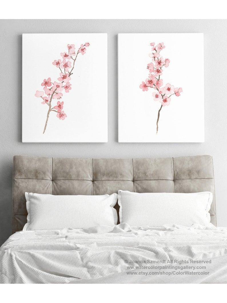 Cherry Blossom Painting Blush Pink Art Print Baby Nursery Bedroom Illustration Minimalist Japanese Modern Watercolor Wall Decor Set 2 Branch Cherry Blossom Painting Pink Art Print Cherry Blossom Bedroom