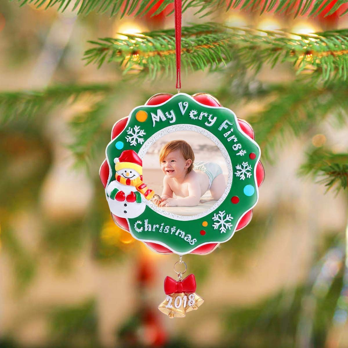 Amazon Com Unomor 2018 My Very First Christmas Ornament Baby S First Picture Christmas Ornaments Gifts Baby First Christmas Ornament First Christmas Ornament