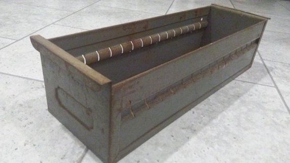 Industrial METAL STORAGE DRAWER, Rusty Metal Storage,Industrial Office  Supply,Metal Storage Bin