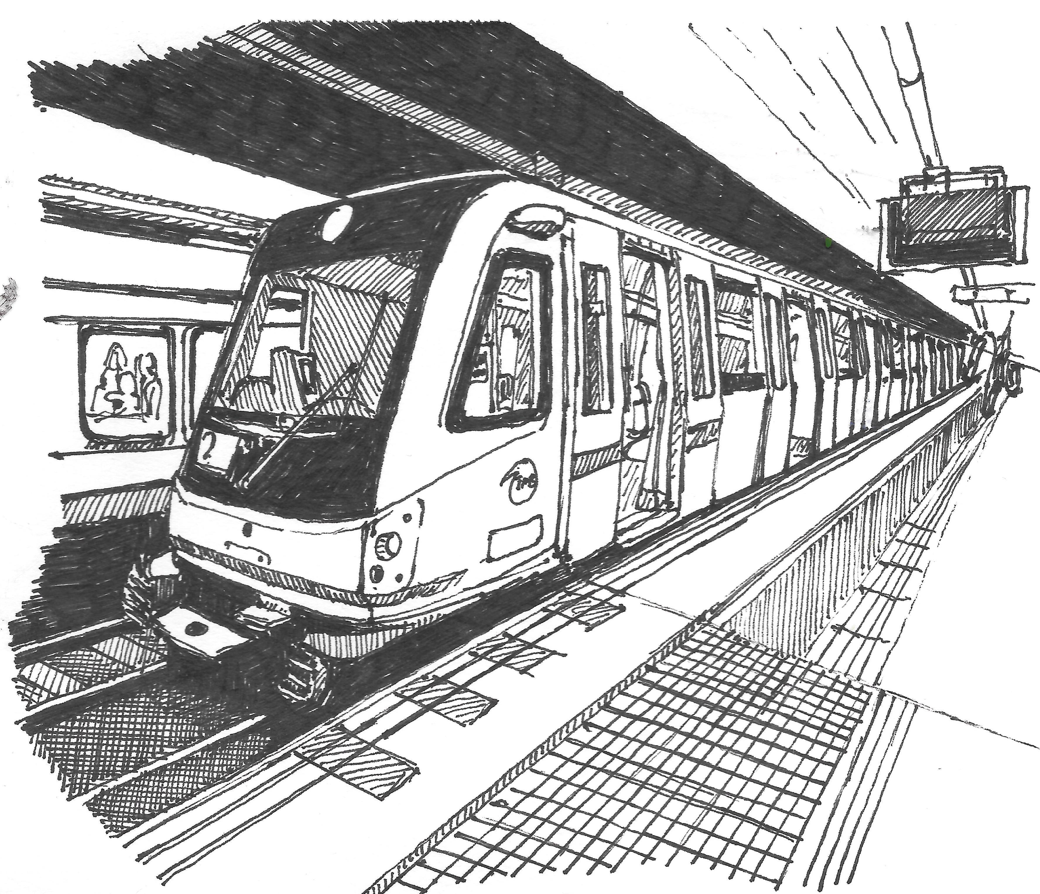 Barcelona Metro Sketched In 0 5mm Karakalem Cizimler Mimari Cizimler Cizim Rehberleri