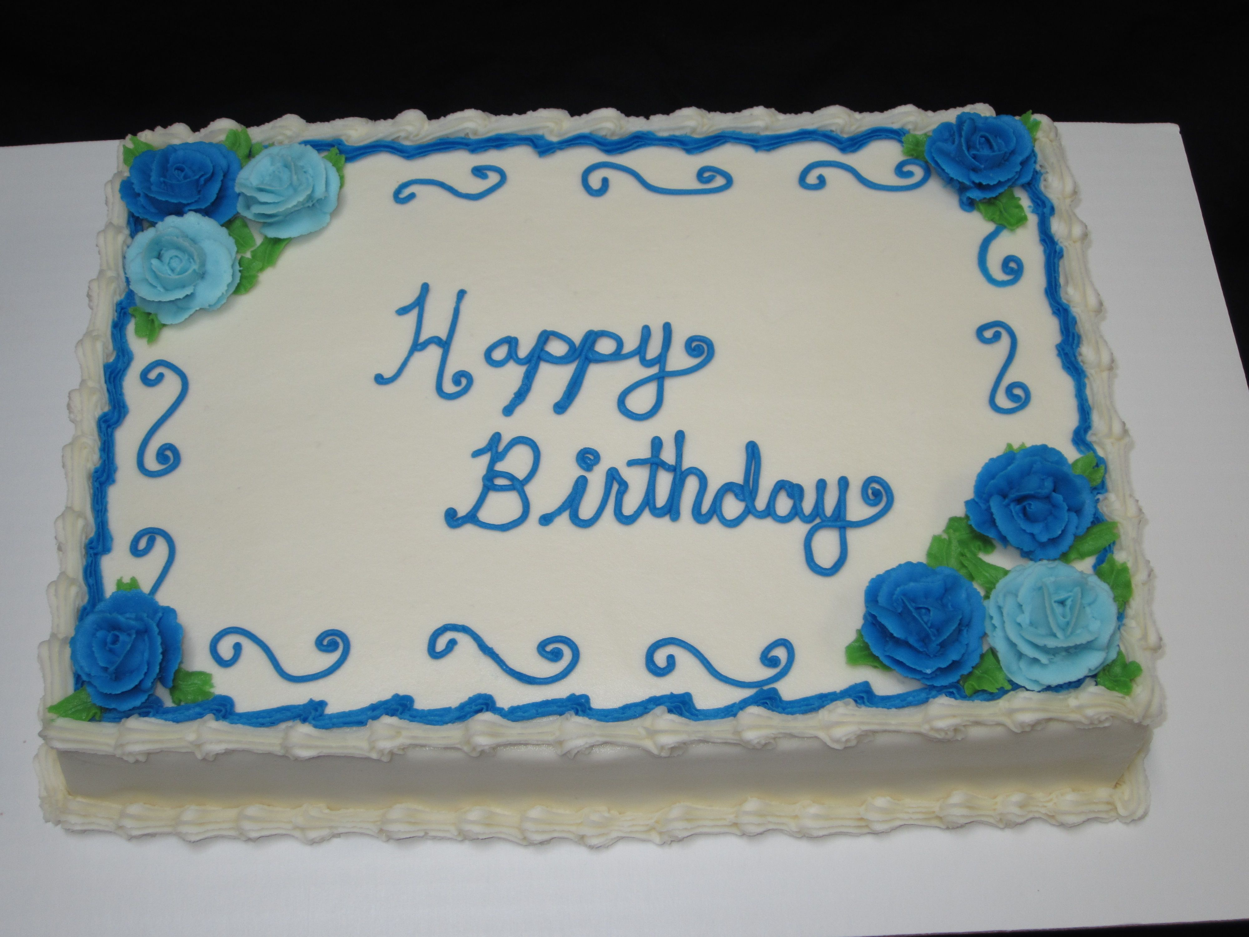 Classic Sheet Cake With Blue Buttercream Roses For A