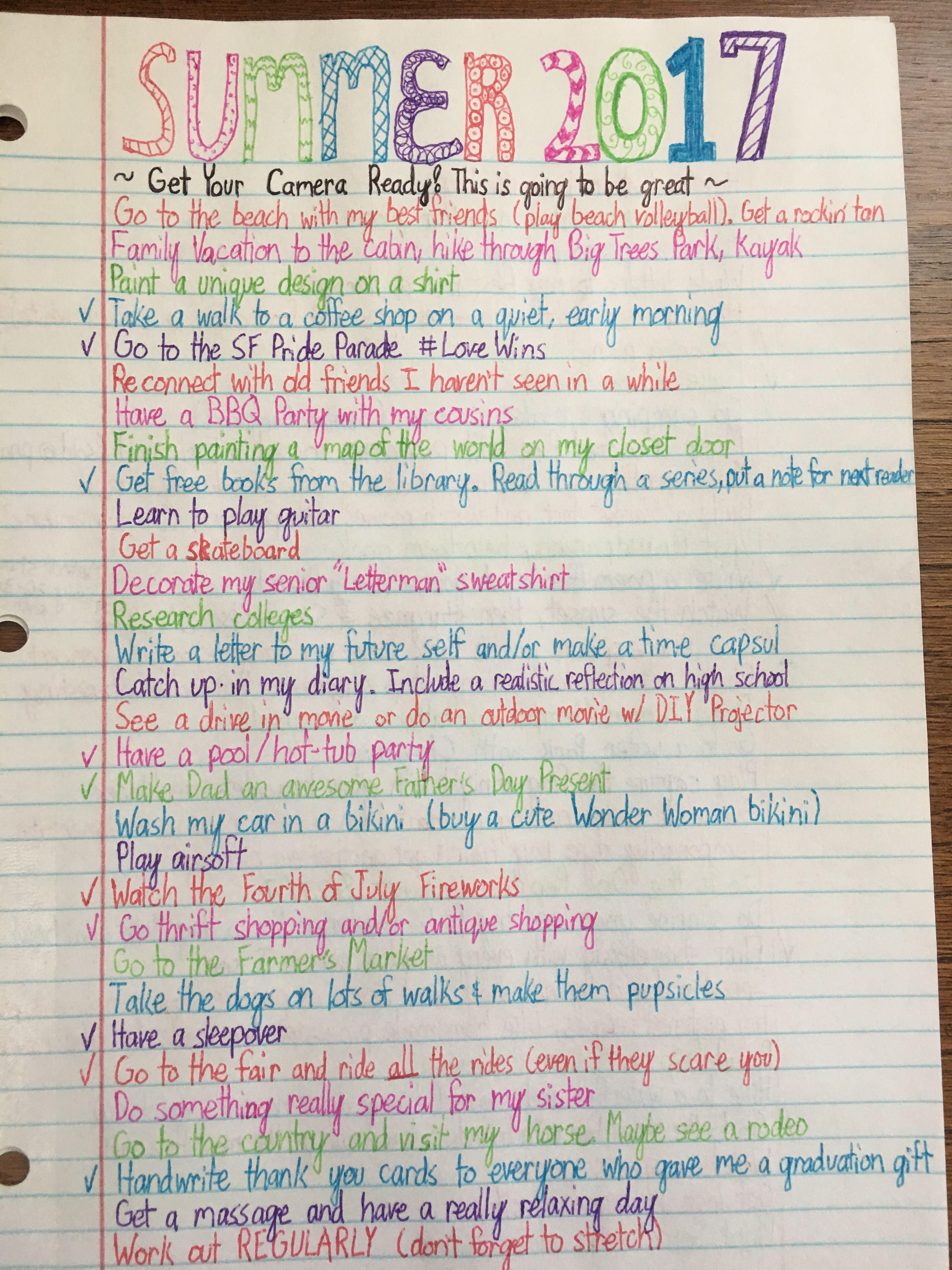 Summer bucket list of a High School Grad part 1/3