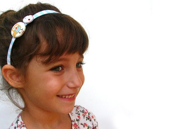 Owl fabric covered hard headband for toddlers and by SmallTalkShop, $10.50