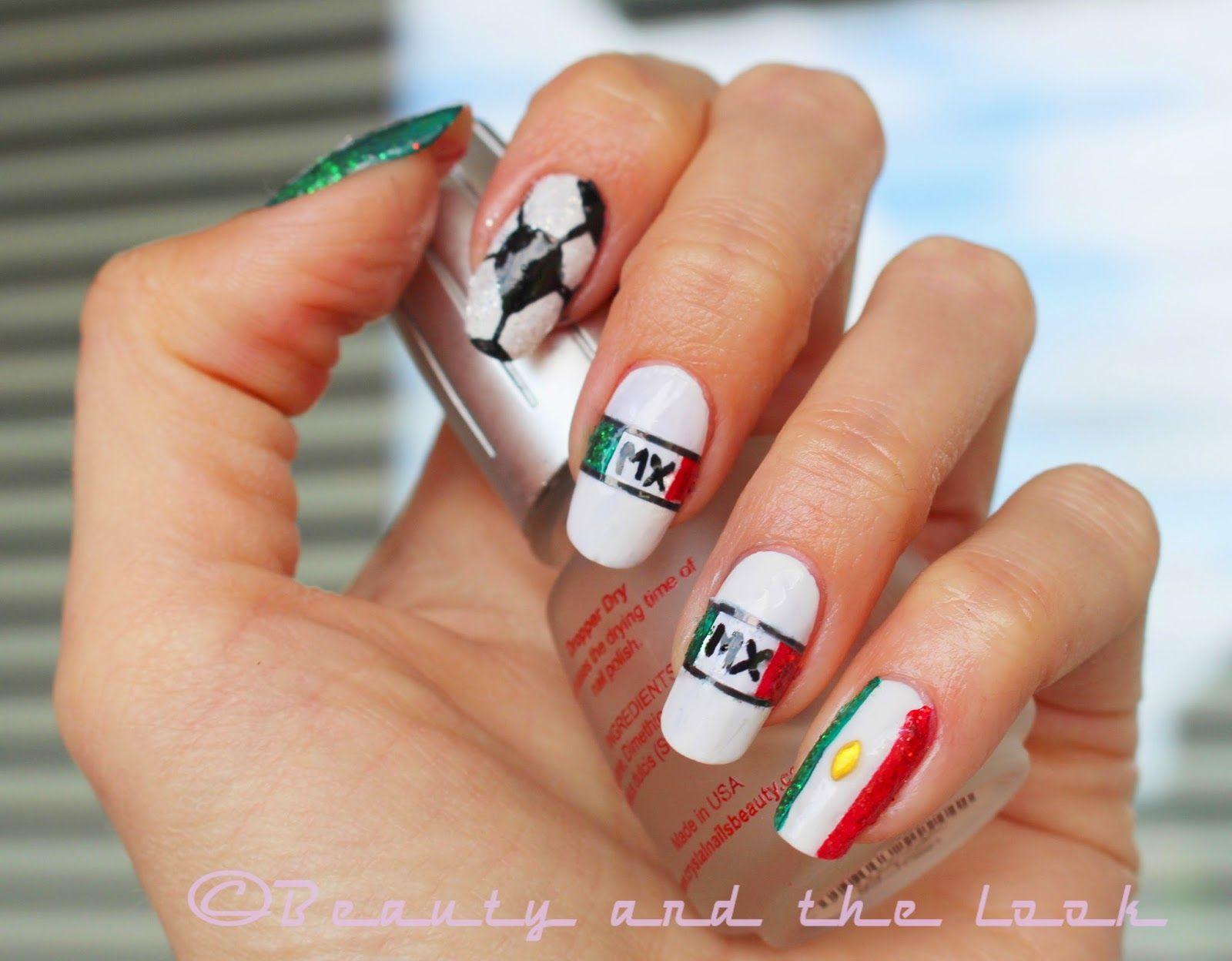 FIFA World Cup 2014 Mexico Nail Art / Uñas de la bandera de Mexico ...
