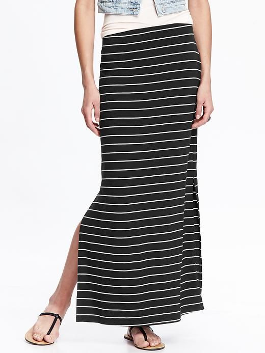 396a24310c Women's Jersey Side-Slit Maxi Skirts | Fashion in 2019 | Striped ...